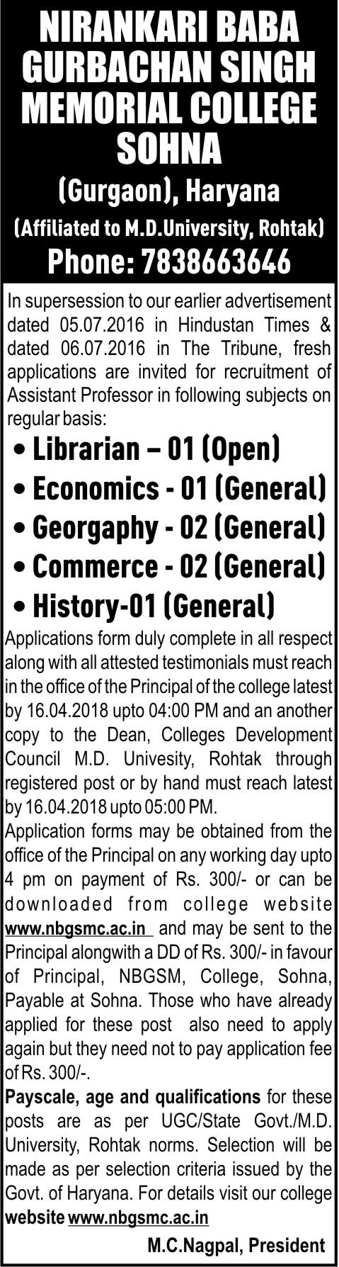 Jobs & Careers | Nirankari Baba Gurbachan Singh Memorial College